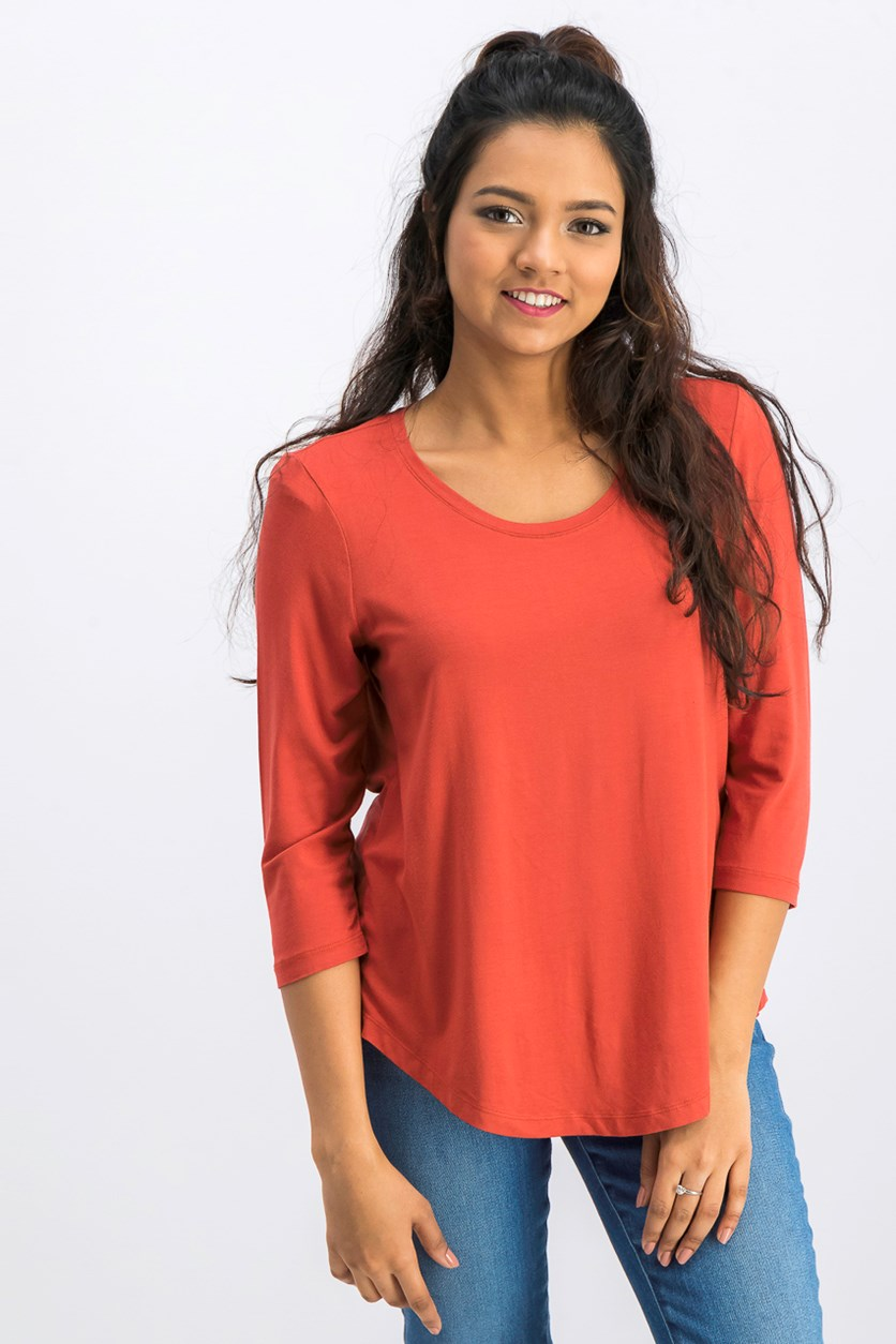 Women Petite Three-Quarter-Sleeve Top, Rusty Red