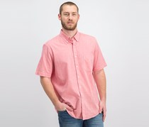 Mens Micro-Check Short-Sleeve Shirt, Lipstick Coral