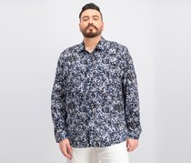 Inc International Concepts Men's Abstract Floral Print Cotton Shirt,  Blue Combo