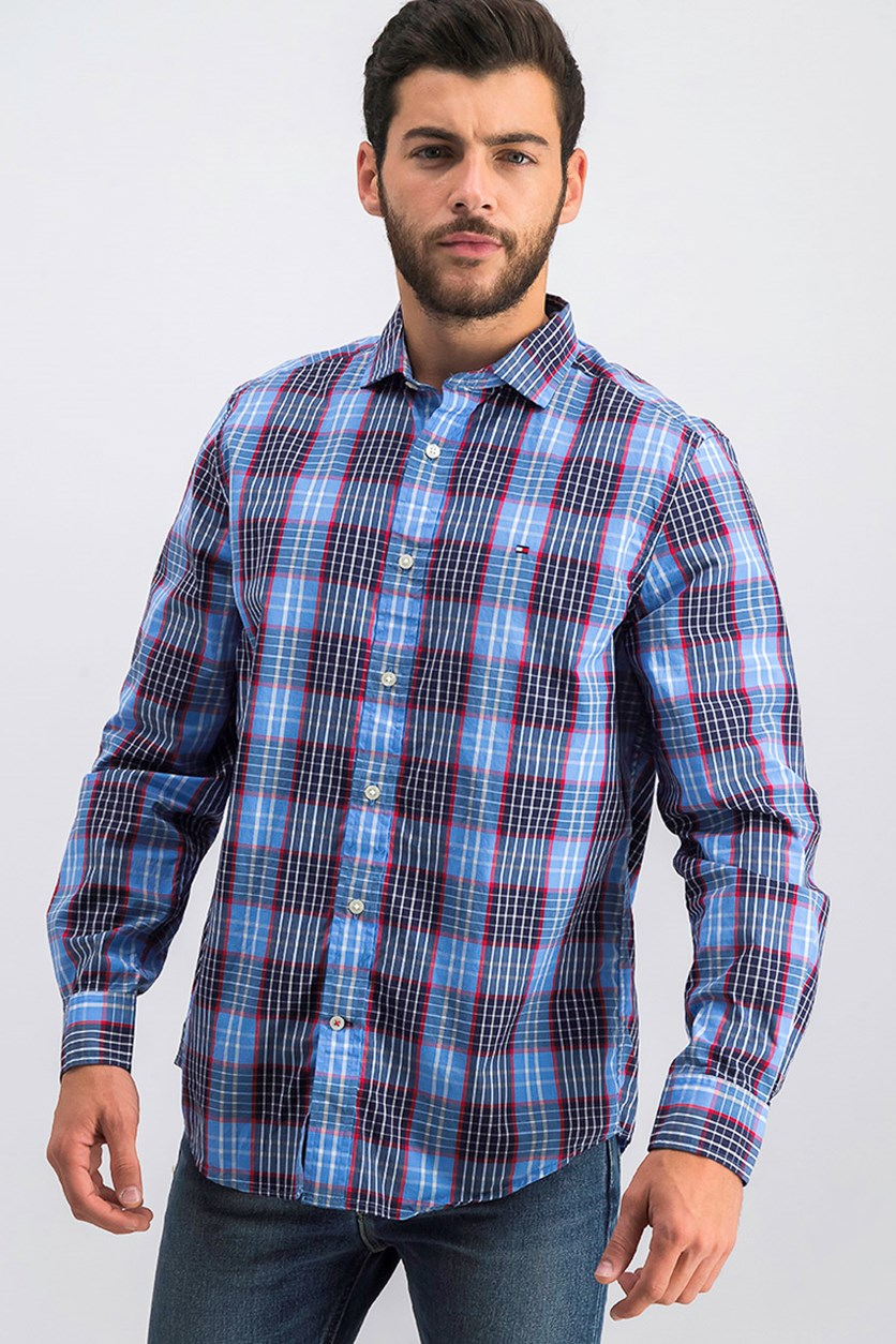Men's Classic Fit Stewart Plaid Shirt, Blue Combo
