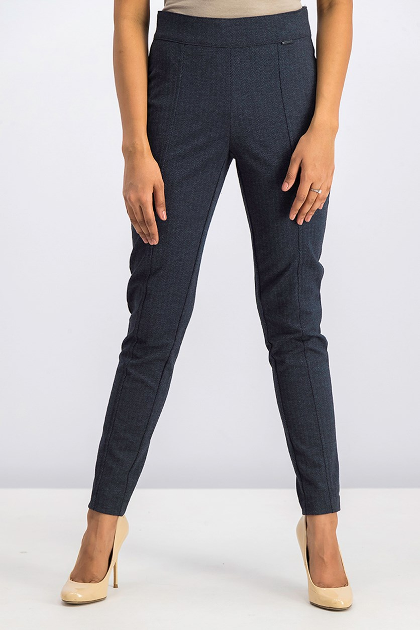 Women's Textured Pants, Marine Blue/Black