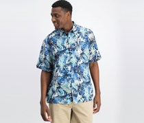 Cubavera Men's Tropical Print Shirt, Navy/Blue Combo