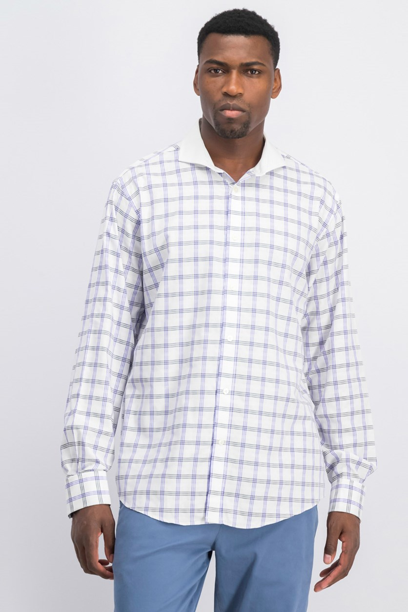 Men's Check French Cuff Dress Shirt, White/Grey/Purple