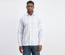 Men's Plaid Long Sleeve Button-Down Shirt, White/Blue