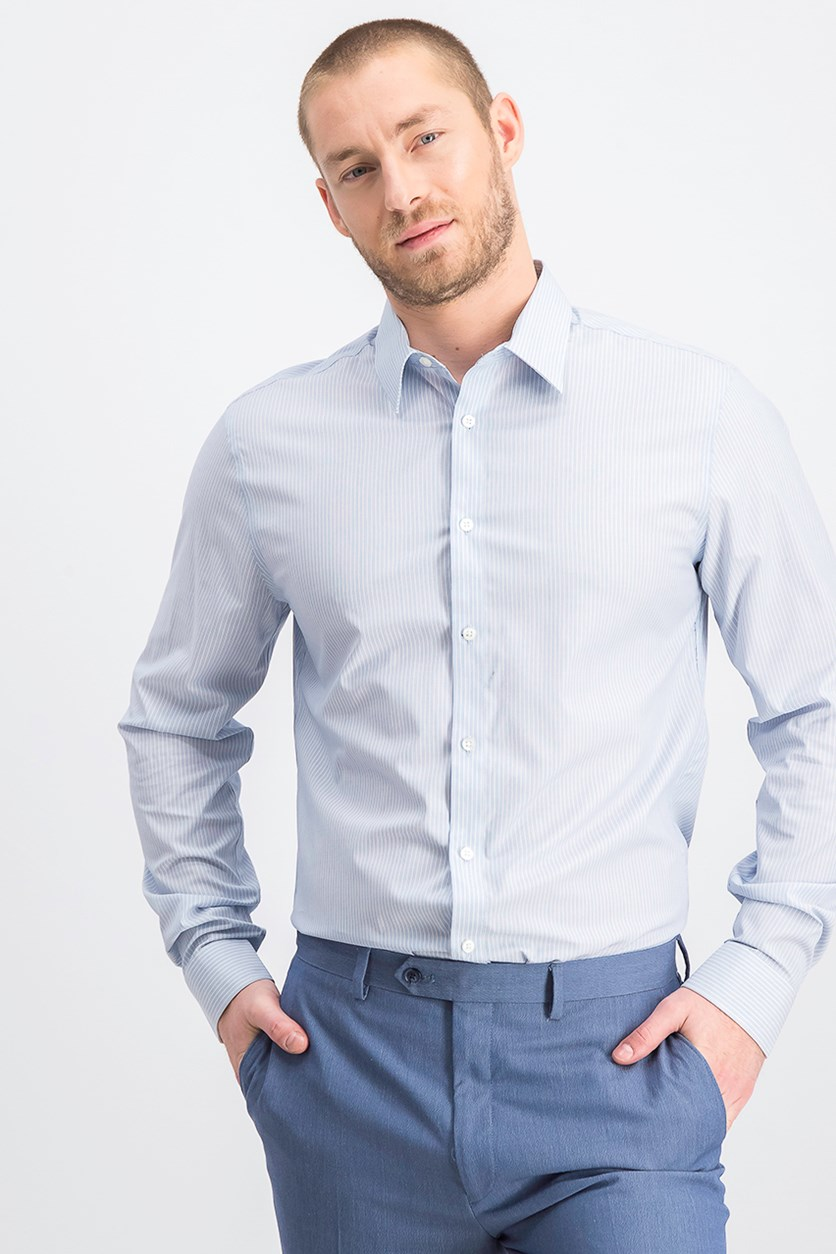 Men's Slim-Fit Stretch Dress Shirt, Stripe Blue Cloud