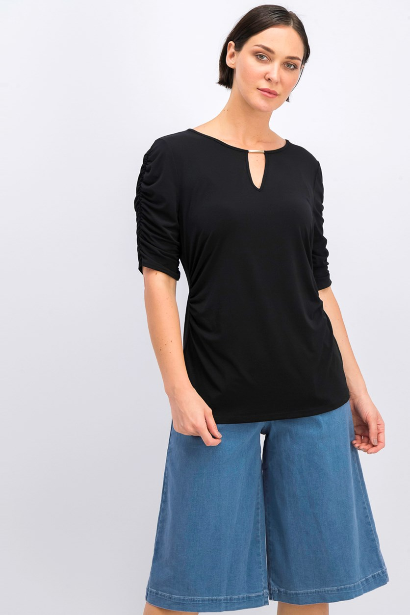 Ruched Hardware Top, Black
