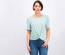 Maison Jules Short-Sleeve Twist-Front Top, Silver Sage