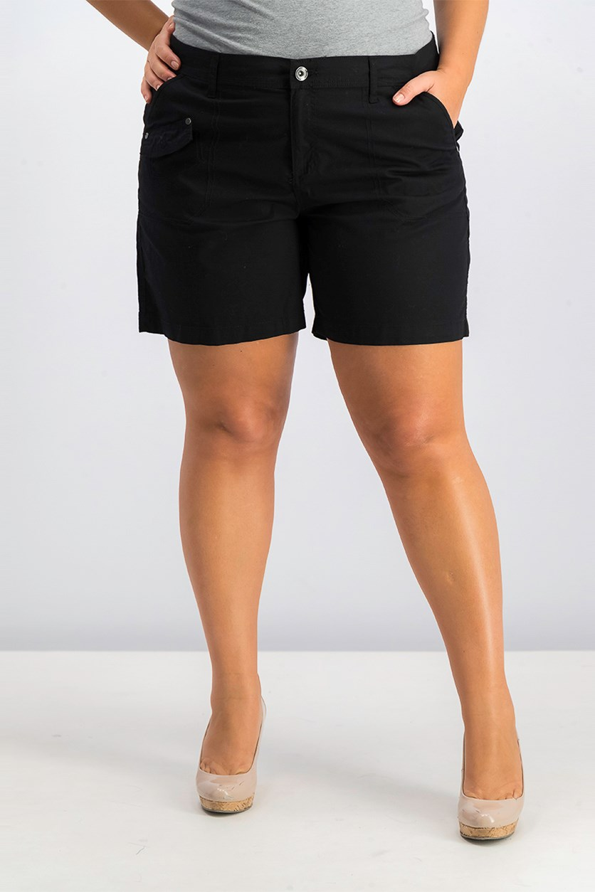 Womens Cargo Shorts, Deep Black