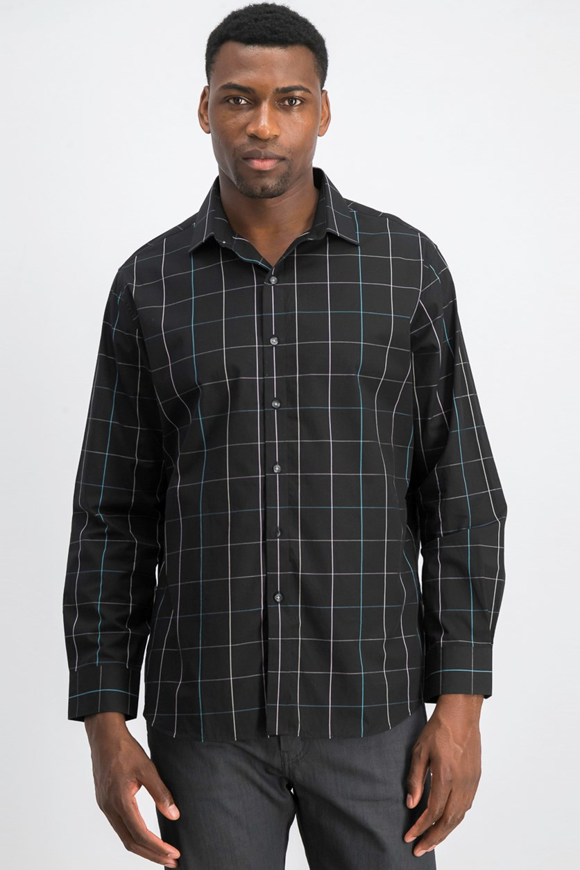 Men's Slim-Fit Stretch Easy-Care Windowpane Dress Shirt, Black