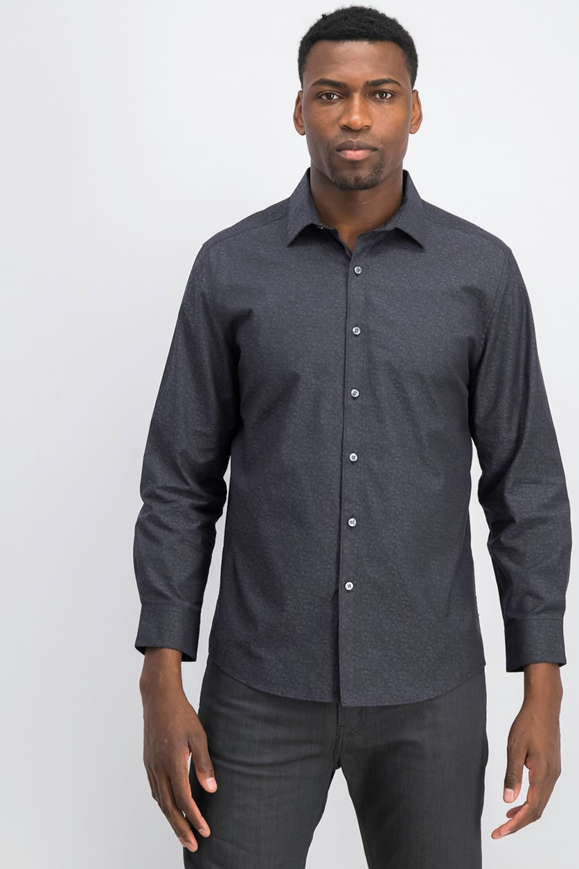 Men's Wear-Me-Out Slim-Fit Stretch Easy-Care Printed Dress Shirt, Black/Grey