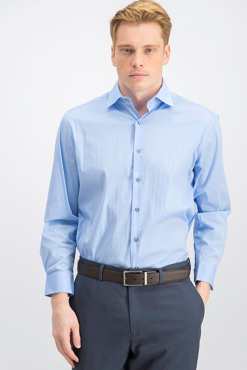Men's Solid Classic/Regular Fit Dress Shirt, Light Blue