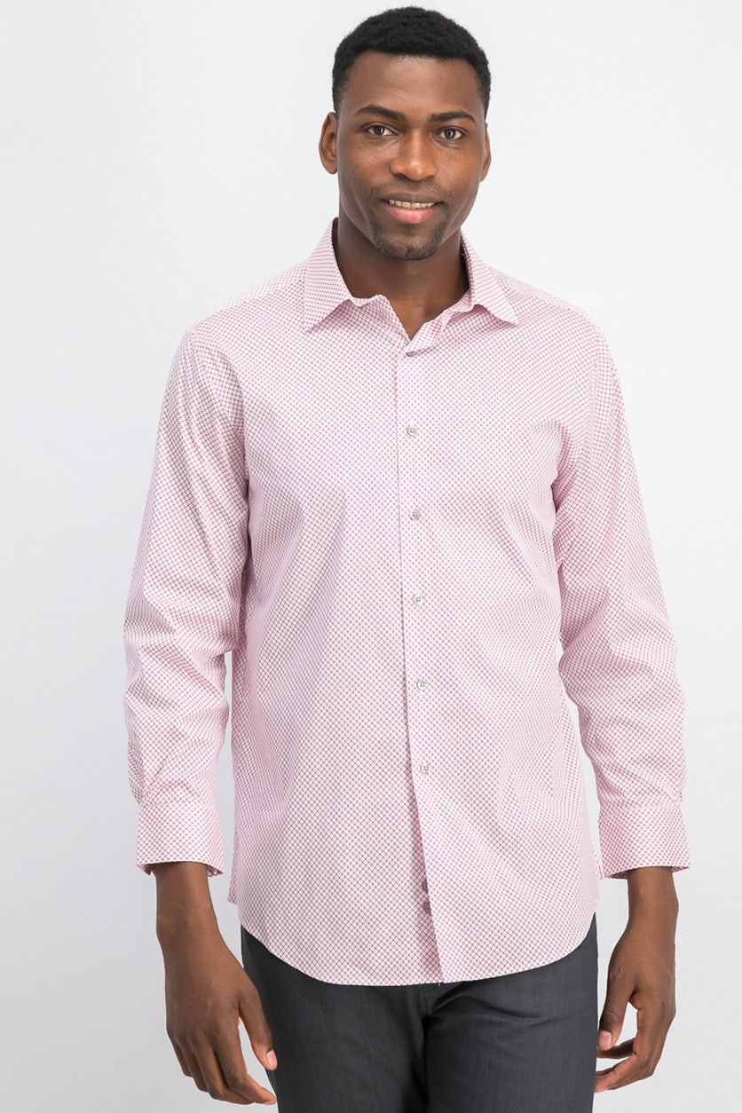 Men Slim-Fit Performance Dress Shirt, Magenta/White