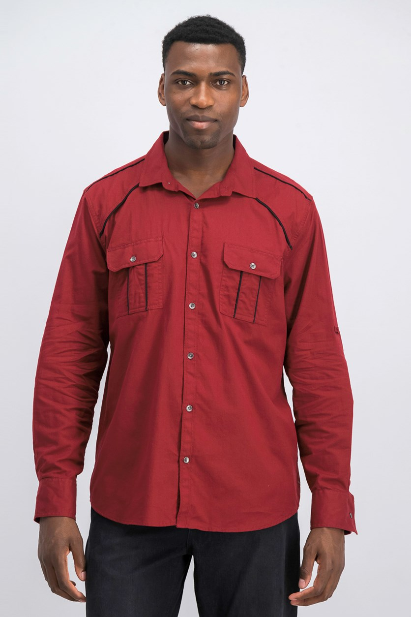 International Concept Men's Piped Shirt, Med Red