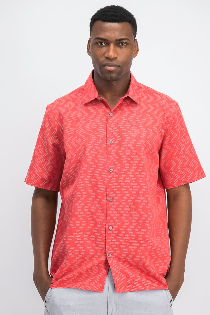 Men's Jacquard Short Sleeve Casual Shirt, Red