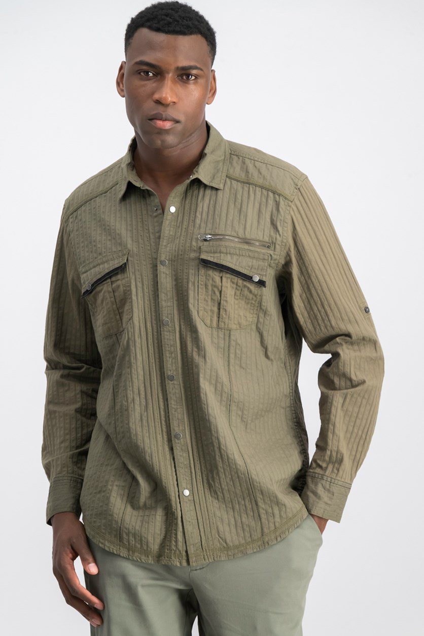 Men's Textured Utility Shirt, Tank