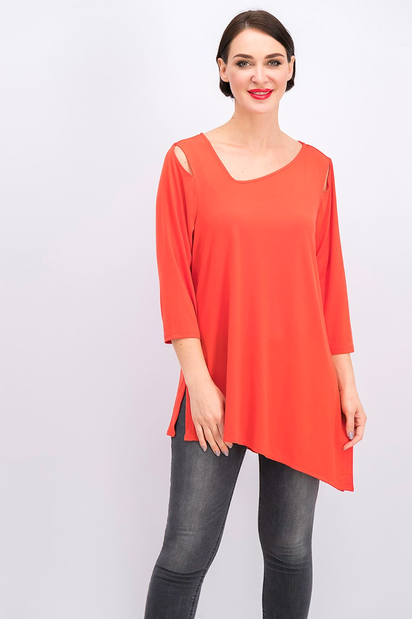 Cold-Shoulder Asymmetrical Top, Cherry Bliss