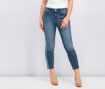 Raw-Edge Ankle Skinny Jeans, Blue