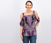 INC Women Printed Cold-Shoulder Top, Violet/Black Combo