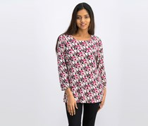 Jm Collection 3/4-Sleeve Novelty Printed Jacquard Top, Mod