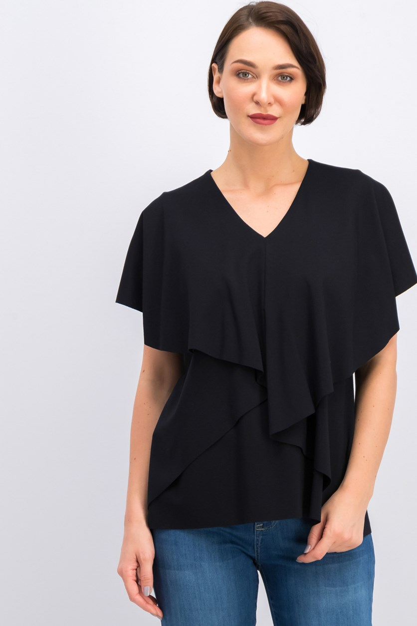 Petite Asymmetrical Cape Top, Black