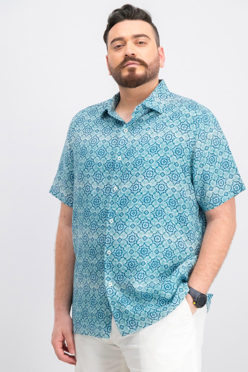 Men's Linen Tiled Print Button-Down Shirt, Teal Como