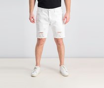 INC Men's Destructed White Denim Shorts, White Wash