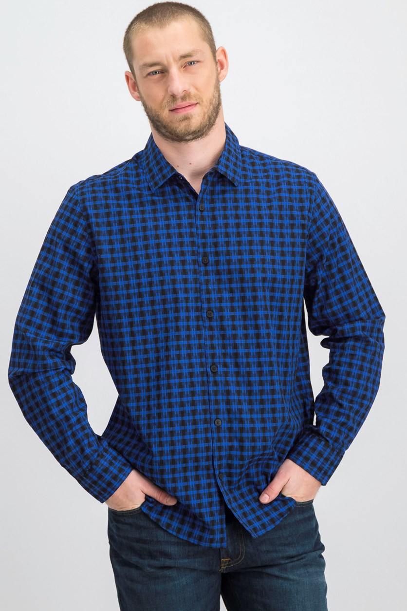 Men's Regular Fit Lewis Plaid Casual Shirt, Blue