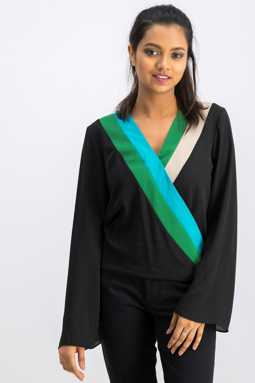 I.n.c. Colorblocked Surplice Top, Deep Black Combo