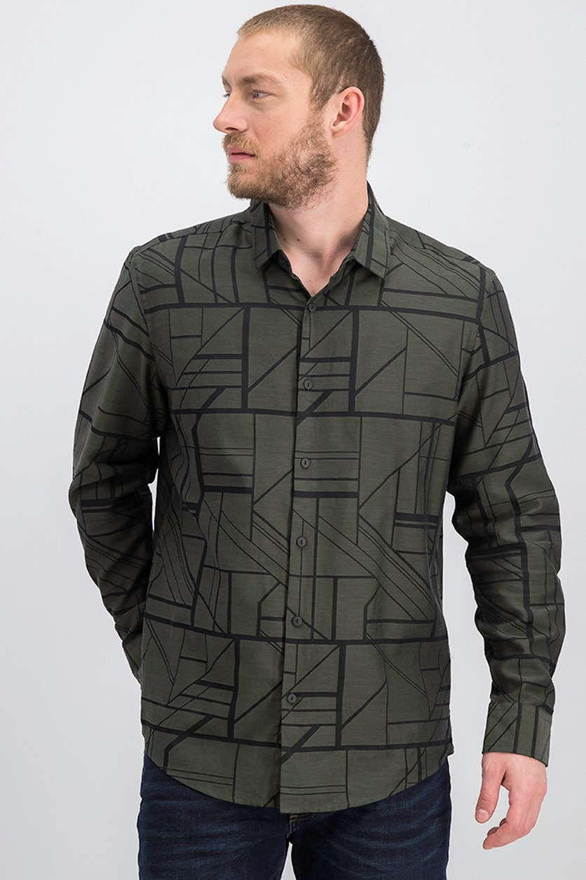 Mens Hayden Geometric Shirt, Oliva