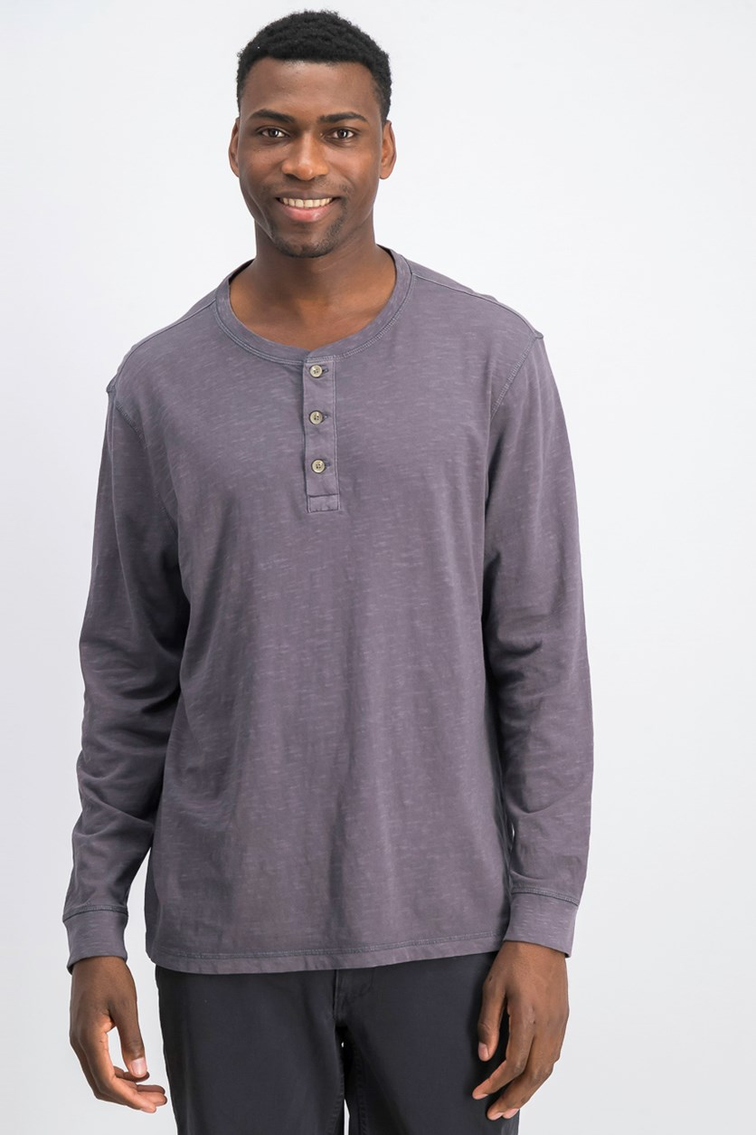 Mens Garment Dyed Henley, Nine Iron