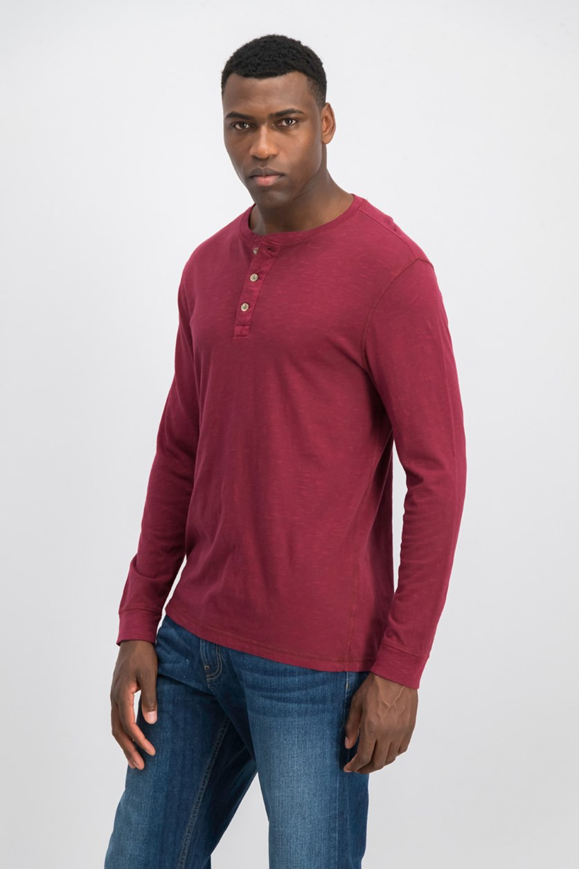Mens Garment Dyed Henley, Carriage Red