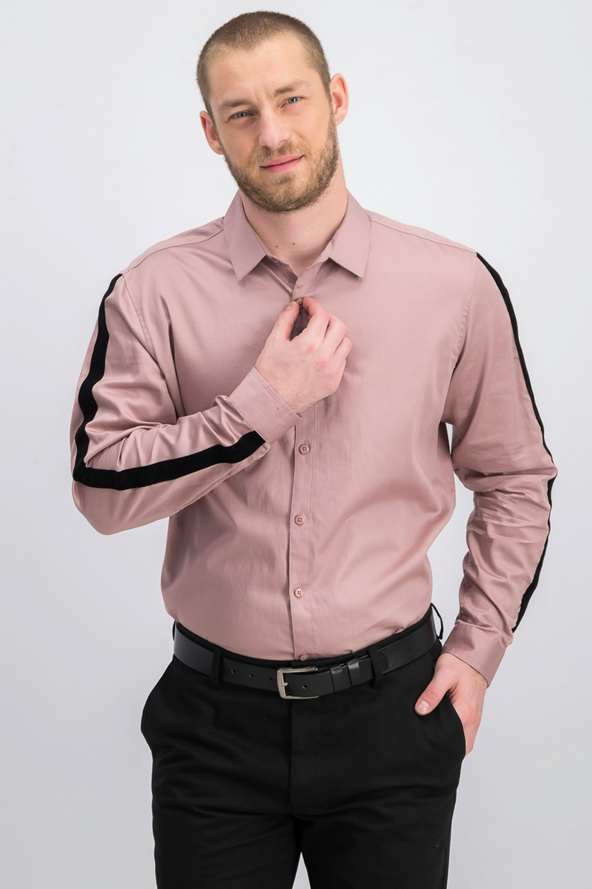 International Concepts Men's Velvet Stripe Shirt, Woodrose