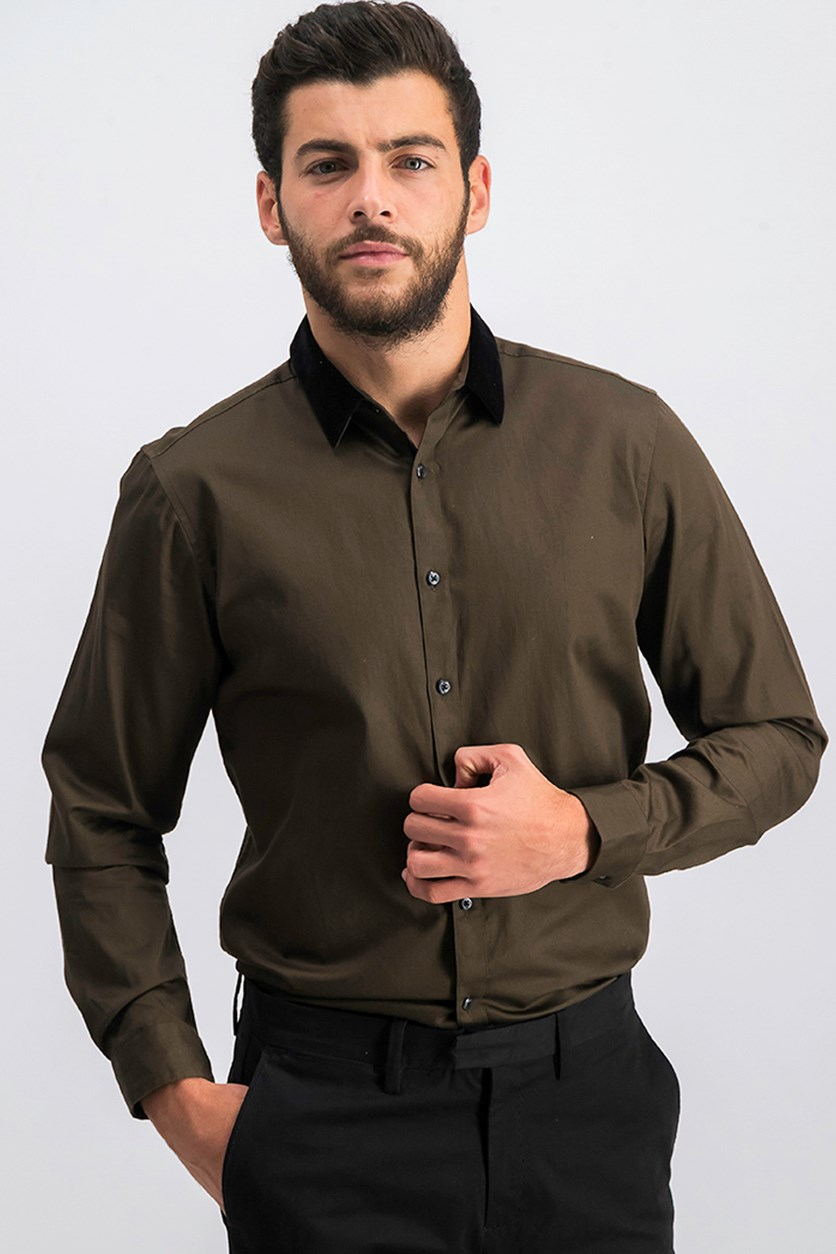 International Concepts Men's Velvet Collar Shirt, Wren
