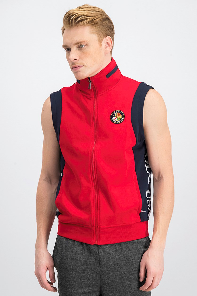 Polo Ralph Lauren Mens Double-Knit Vest, Red/Navy