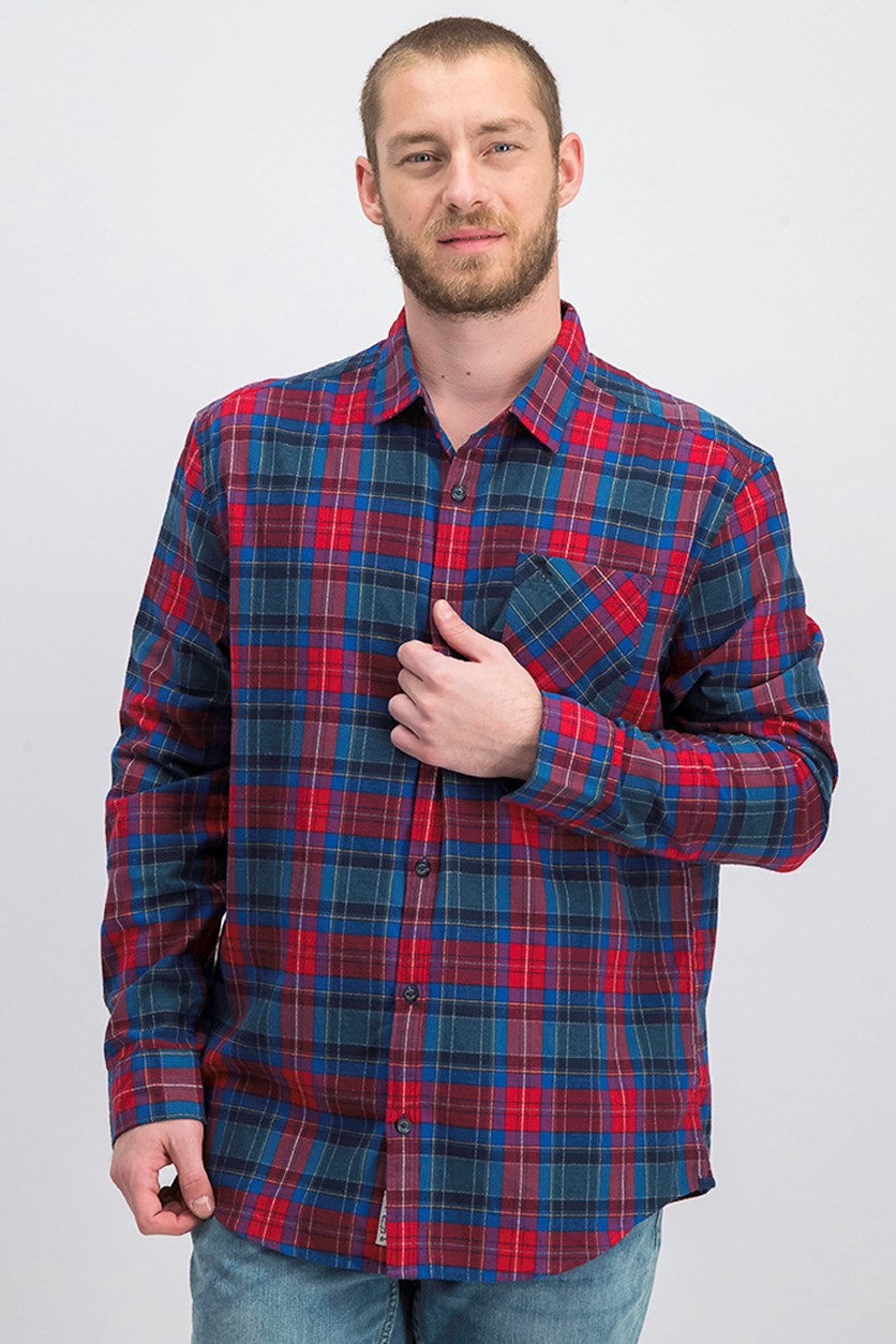 Men's 90s Plaid Flannel Pocket Shirt, Dark Sapphire