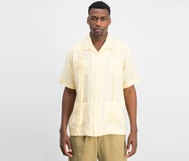 Cubavera Short-Sleeve 4-Pocket Guayabera Shirt, Banana Crepe/Yellow