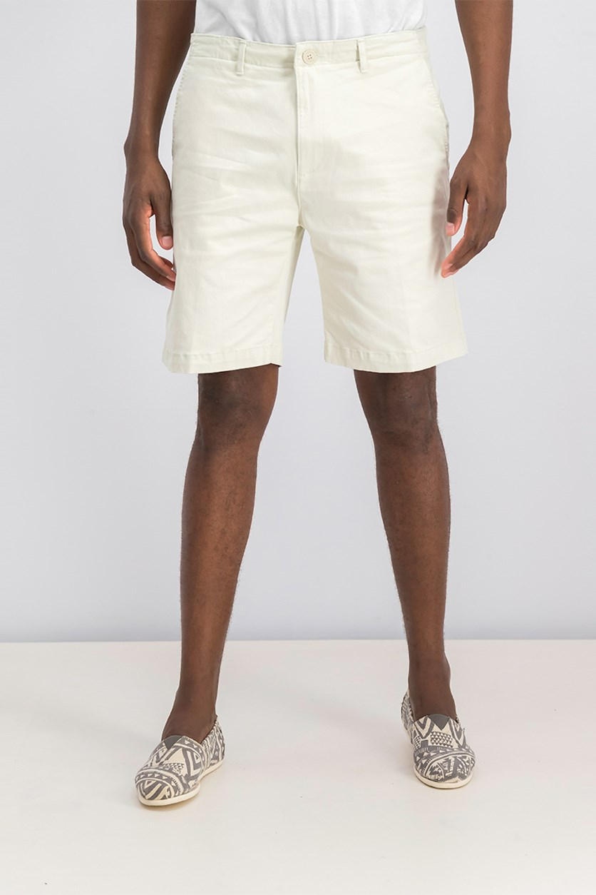 Mens Sateen Stretch Shorts, Silver Birch