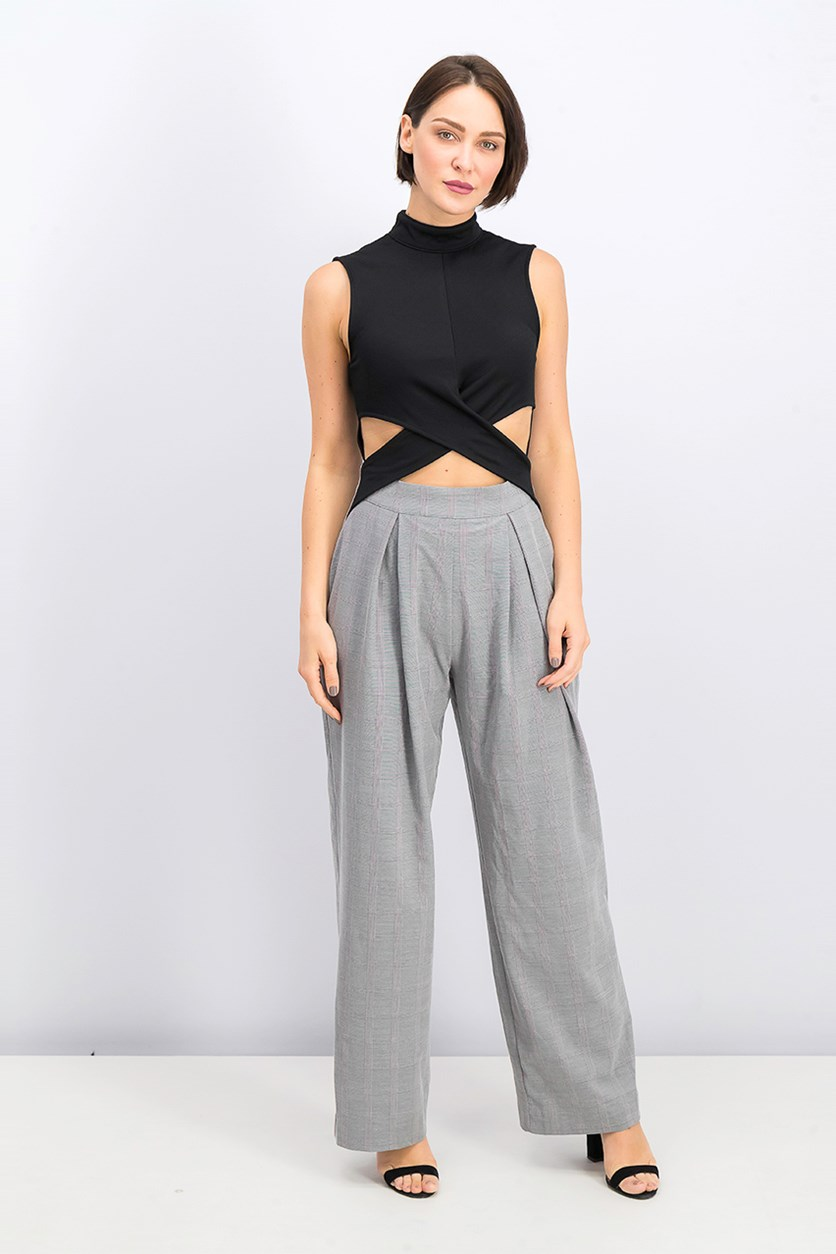 Cut Out Sleeveless Wide Leg Jumpsuit, Gray/Black