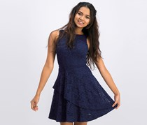 Speechless Juniors Lace Tiered Sleeveless Cocktail Dress, Navy Blue
