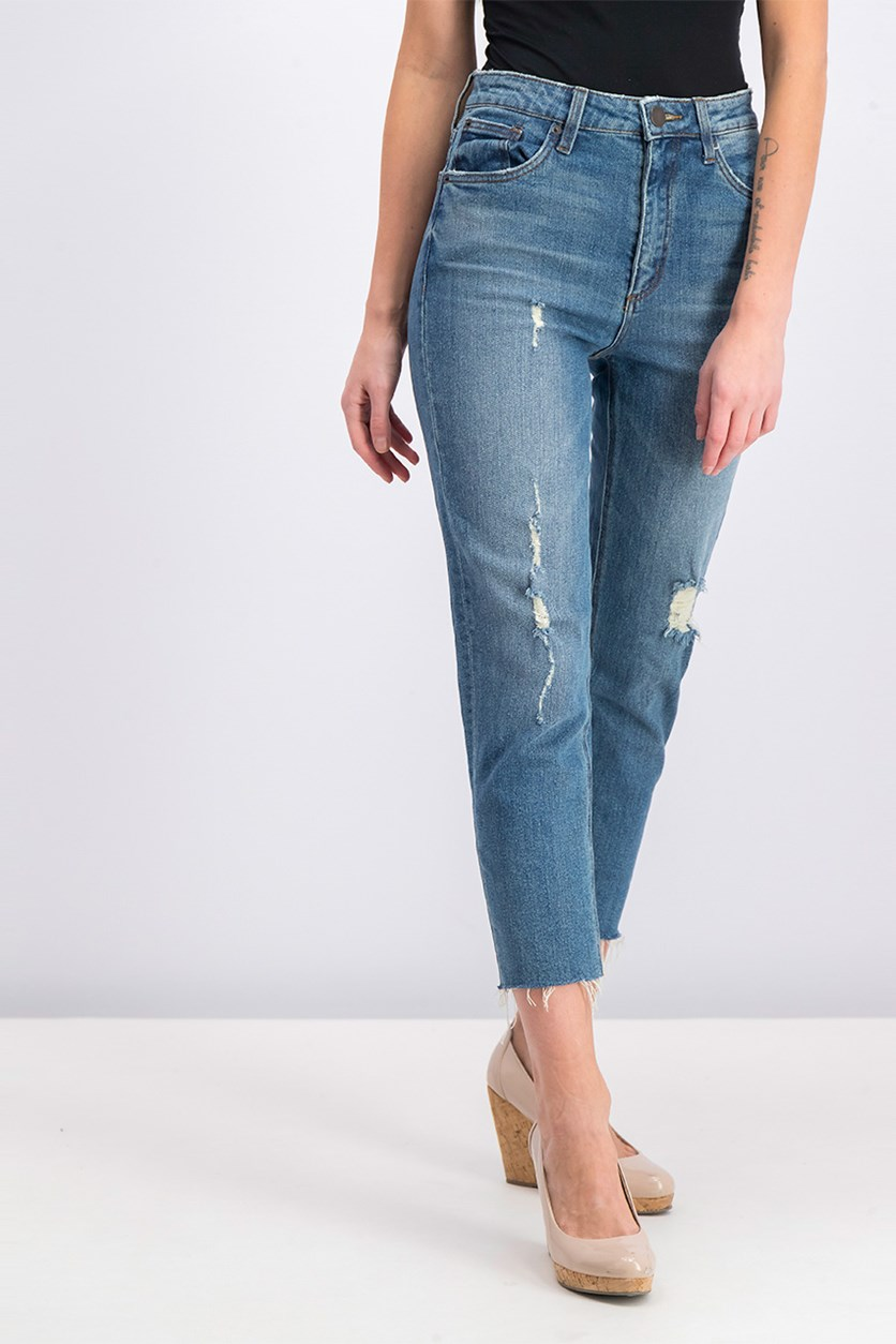 Women's Alicia Frayed Hem Jeans, Blue Wash