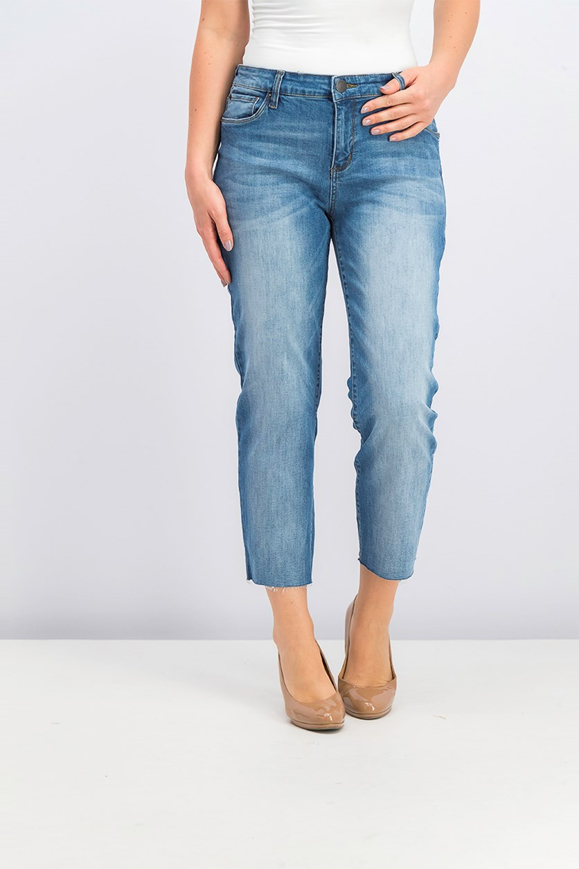 Women's Textured Jeans, Wash Blue