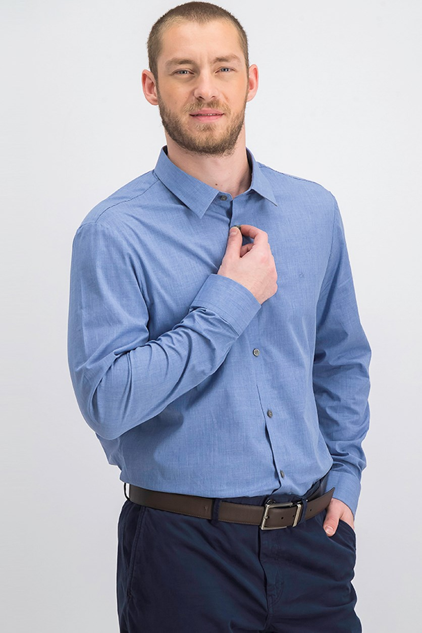 Men's Heathered French Placket Shirt, Blue