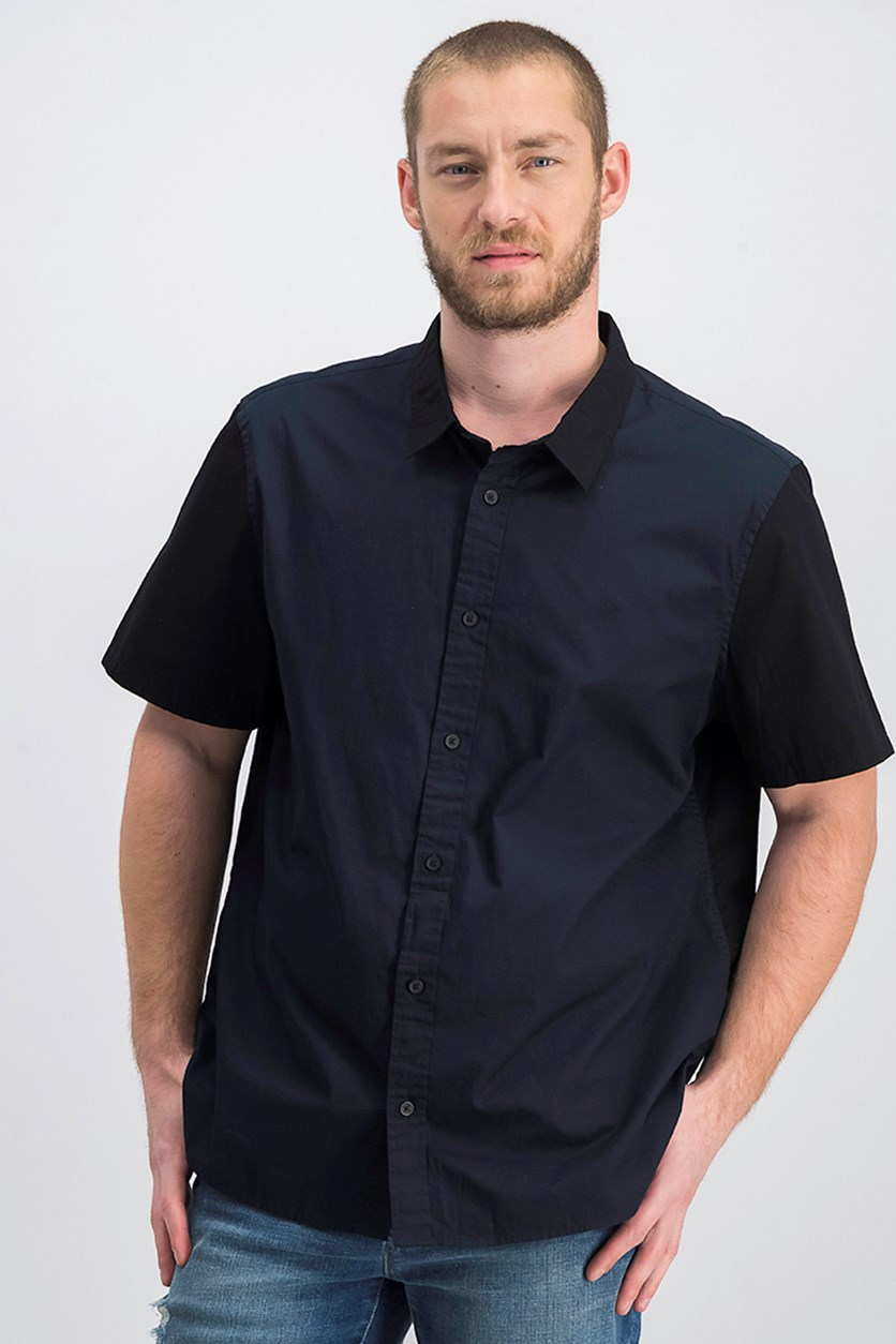Men's Colorblocked Shirt, Dark Blue/Black