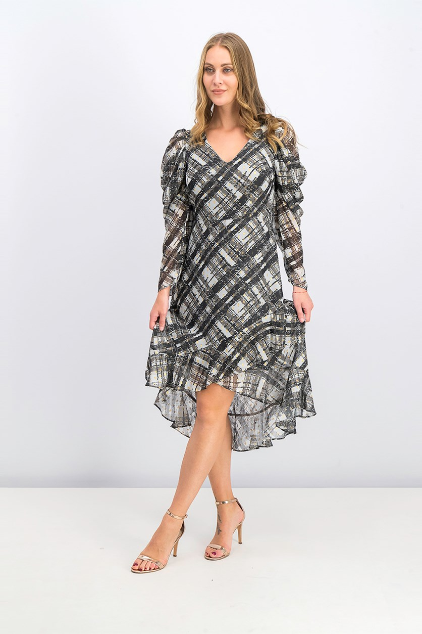 Womens Metallic Plaid Cocktail Dress, Gray/Black