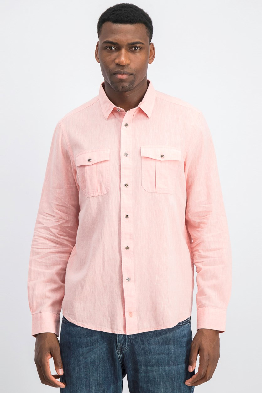 Men's Button Down Shirt, Orange Sand
