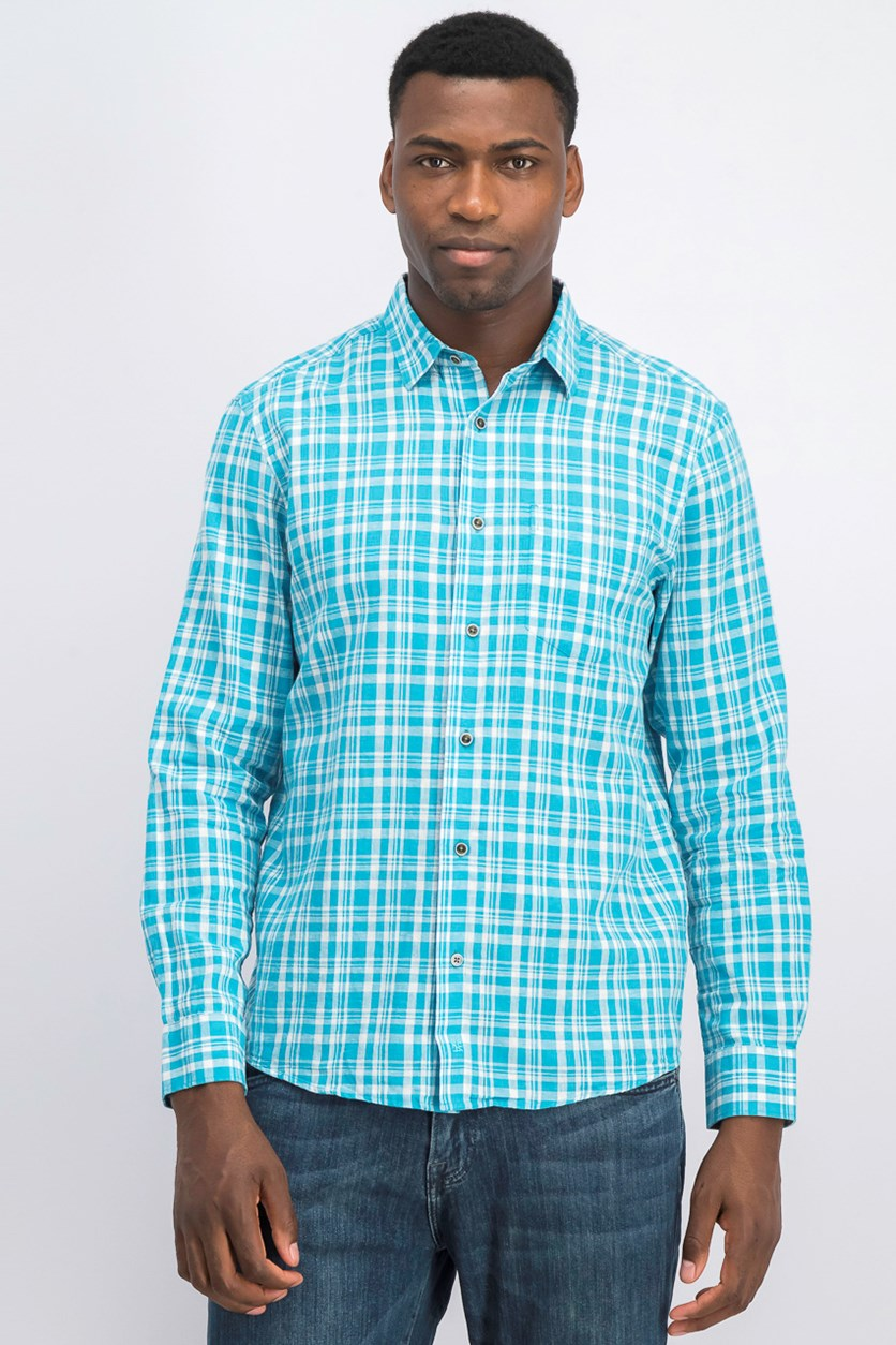IKE By Ike Behar Linen Plaid Button Down Shirt, Wet Blue