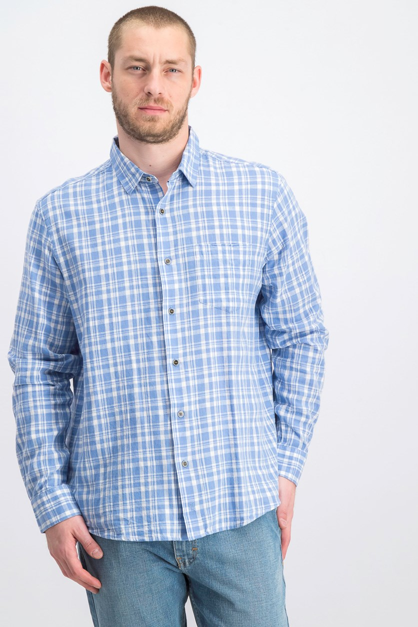 IKE By Ike Behar Linen Plaid Button Down Shirt, Office Blue