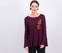 Cable & Gauge Women's Embroidered Top, Purple