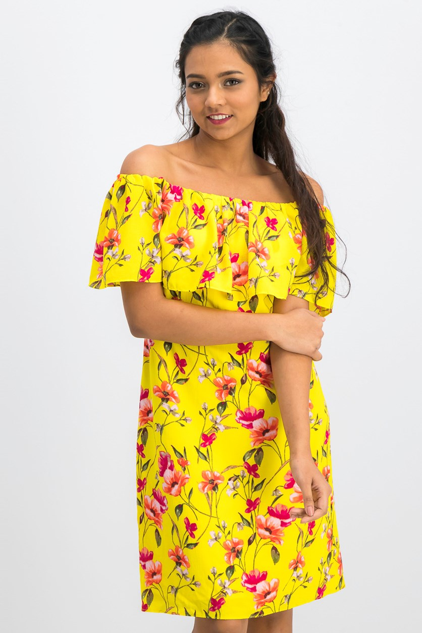 Floral-Print Off-The-Shoulder Dress, Yellow Combo