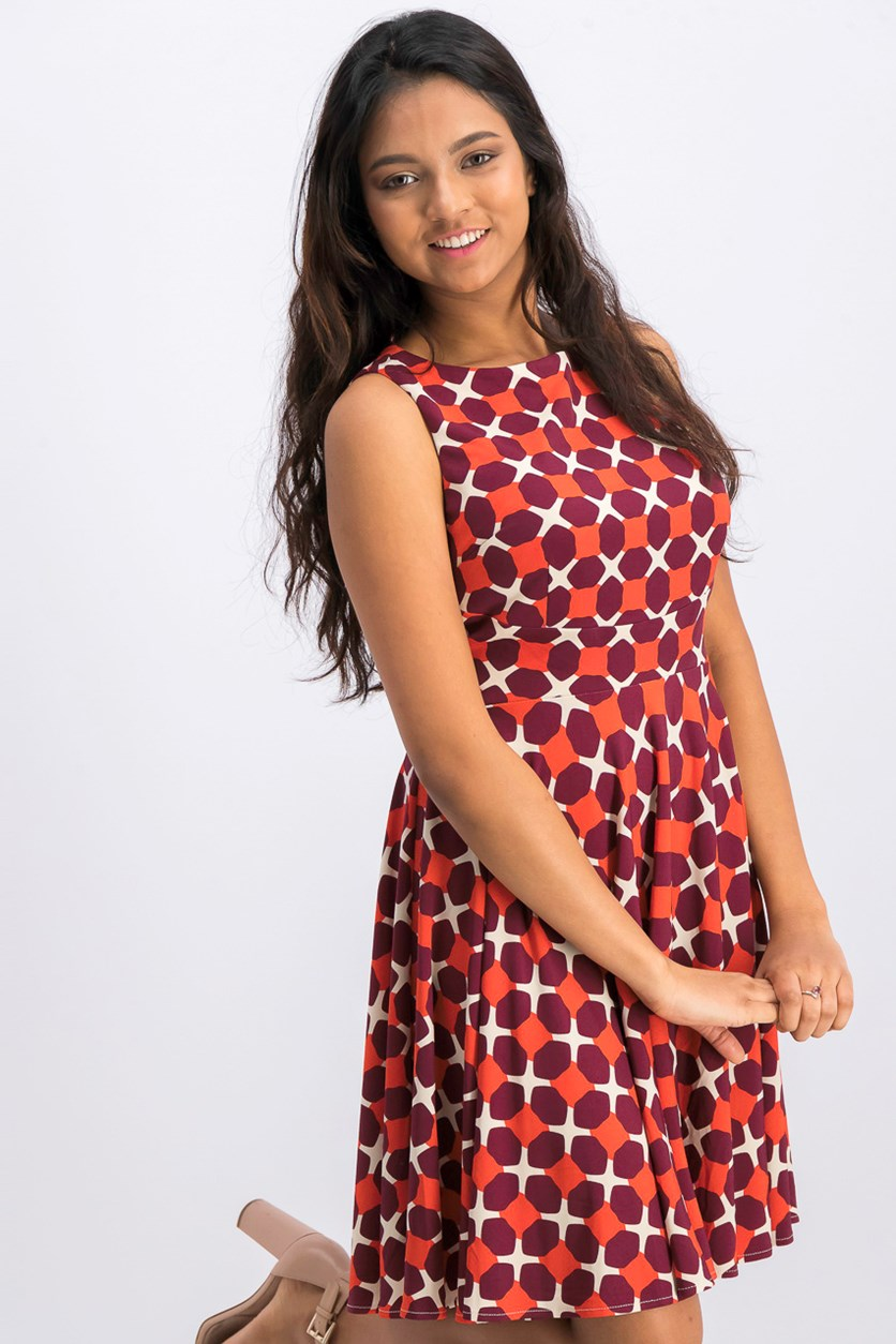 Women's Big Dot Dress, Burnt Orange